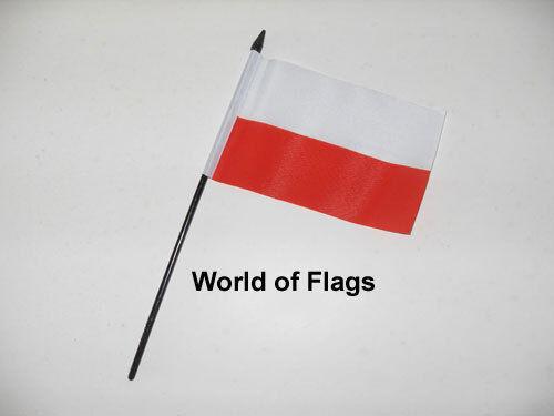 "POLAND SMALL HAND WAVING FLAG 6"" x 4"" Polish Crafts Table Desk Top Display"