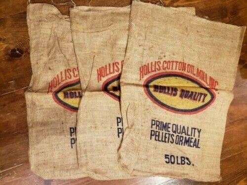 Lot of 3 BURLAP Feed Sacks Hollis Cotton Oil Mill Vintage 50 lbs