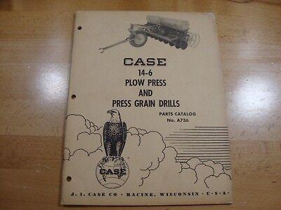 Case 14-6 Plow Press Grain Drill Parts Manual Catalog 1956 A736