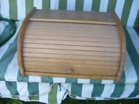 Wooden Bread Bin Kitchen Storage Box Loaf Vintage Curved Holder