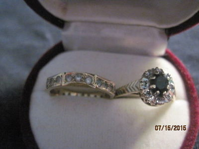 Antique English Gold Sapphire and Diamond Ring & Diamond Band Ring Size 5