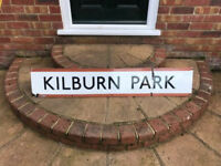 original vintage london underground/railway station big enamel sign kilburn park