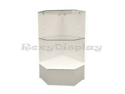 White Corner Pentagon Filler Display Case Store Fixture Knocked Down Sc-pcm-cwx