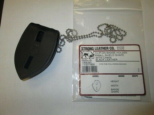 Strong Leather 71337-0002 Small Shield Closure Badge Holder Chain Black