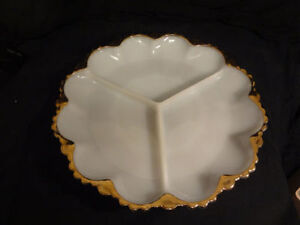 Vintage Anchor Hocking Fire King Milk Glass Divided Gold Trim Di