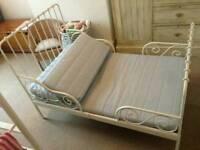 Ikea white minnen bed with vyssa 3 pieces mattress