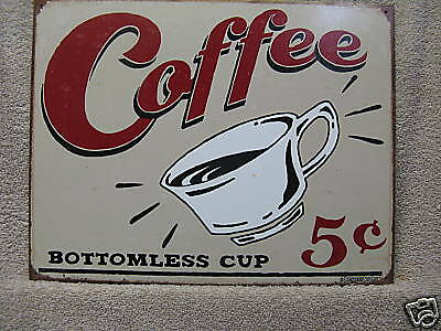 Coffee Vintage Look Kitchen Decor Tin Metal Sign CHIC New ()
