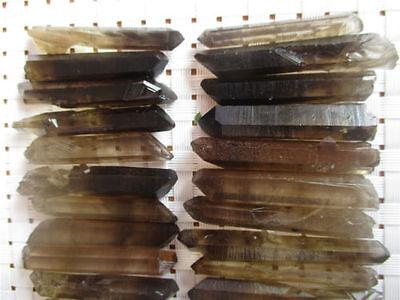 100G22 35 Lot Perfect  Black Quartz Crystal Points Terminated Wand Specimen