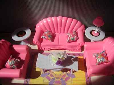 Barbie Size Dollhouse Furniture Pink Princess Doll Living Room Play Set, NEW