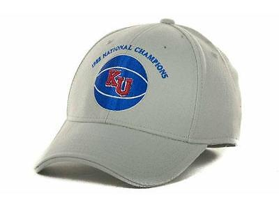 2eb86fc5c New Adidas Kansas Jayhawks 1988 Retro KU National Champions Flex Hat S M  Gray
