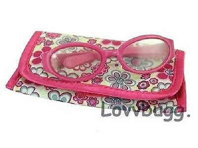"Lovvbugg Hot Pink Eyeglasses n CASE for 18"" American Girl Doll Accessory"