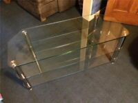 """Modern Clear Glass & Chrome TV Stand Suitable For Tv's upto 55"""" - VGC"""