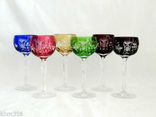 Cut crystal colored wine glasses ebay - Waterford colored wine glasses ...