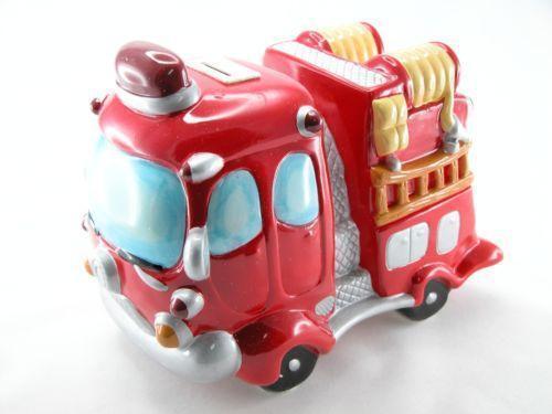 fire truck piggy bank ebay. Black Bedroom Furniture Sets. Home Design Ideas