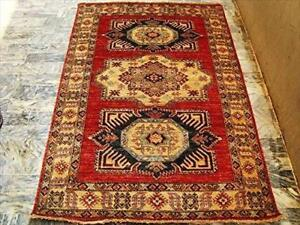 Super Kazak Caucasion Geometric Traditional Designed Veg Dyed Hand Knotted Rug Carpet (6 x 4.1)'