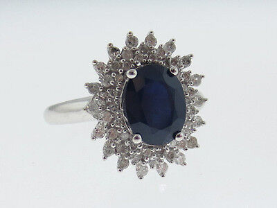 Natural Blue Sapphire (9x7) Diamonds Solid 14K White Gold Ring FREE Sizing