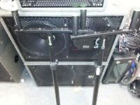 HEAVY DUTY SATELLITE SPEAKER STANDS WITH DOUBLE SPEAKER TOPS..