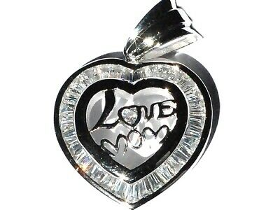 Sterling Silver Large Cubic Zirconia CZ Love Mom Heart Pendant