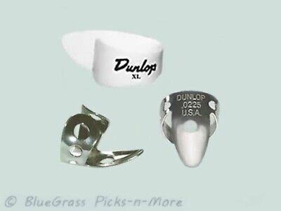 DUNLOP PICK SET - EXTRA LARGE Thumb, Nickel Finger Picks .0225 Dobro Banjo Steel Large Thumb Pick