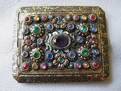 Antique Gold Tone Czech Glass Rhinestone Jewel Engraved Bevel Mirror Compact