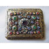 Antique Gold Tone Czech Glass Rhinestone Jewel Engraved Bevel Mirror Compact