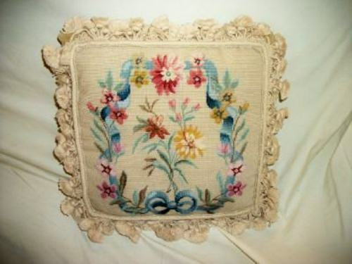 French Needlepoint Aubusson Feather Pillow Floral Bow Not Shabby Vintage Chic