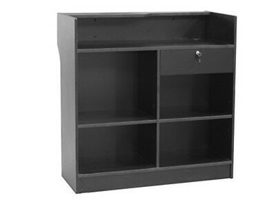 Black Ledgetop Counter Register Stand Top Shelf Display Store Fixture Ltcsw4bk