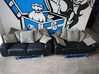 x2 Black Leather 3 Seater Sofas - Used Good Condition ONLY £90