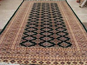 Awesome Green Jaldar Abstract Area Rug Hand Knotted Wool Silk Carpet (8 x 5)'