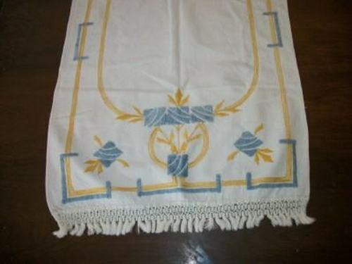 ANTIQUE ARTS & CRAFTS EMBROIDERED RUNNER KNOTTED FRINGE LARGE HEAVY COTTON