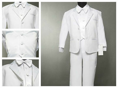Boys White Suite/ Tuxedo for Wedding/ Christening/ Baptism 5 Piece Set Size - White Suits For Boy