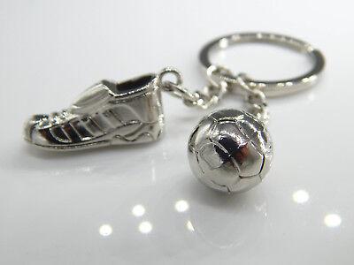 Schlüsselanhänger Fußball Schlüsselring Fußballschuhe Metall silber