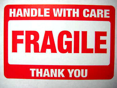 250 2 X 3 Fragile Handle With Care Label Sticker. Plus 10 White Smiley Stickers.