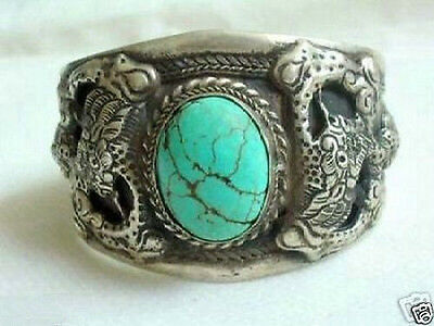 Turquoise Silver Mens Bracelets - Men's tibet silver inlay turquoise cuff bracelet