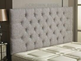 LIGHT GREY CHESTERFIELD DIAMONTE BUTTON HEADBOARD DOUBLE