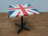 New Werzalit Union Jack Laminate Indoor Outdoor Folding Table 700mm Square