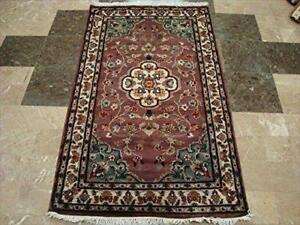 Ivory Flower Touch Rectangle Area Rug Hand Knotted Wool Silk Carpet (5 x 3)'