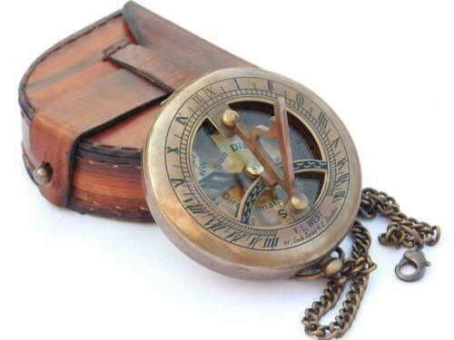 Antique Pocket Locket Leather Case Nautical Sundial Compass brass and Chain gift