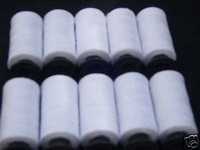 10 WHITE Spools SEWING 100% PURE COTTON THREAD 500 Yrd each BUY 2 & Get 3rd FREE