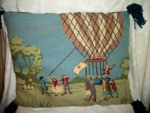 VINTAGE NEEDLEPOINT PILLOW HOT AIR BALLOON FLIGHT WOOL NICE MID CENTURY HANDMADE