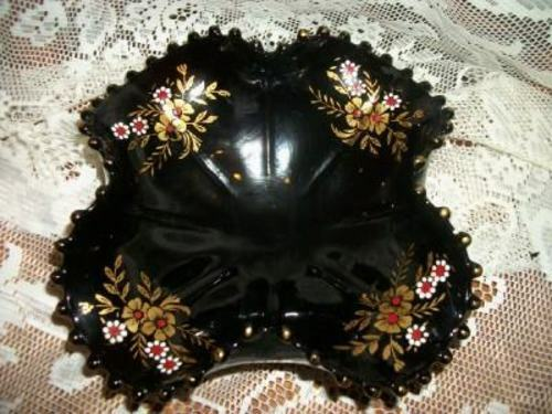 BLACK GLASS CANDLEWICK DISH HP GILT FLORAL FOOTED FOLDED CRIMPED VINTAGE