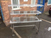 Stainless Steel Table With Shelf 150x60cm H155cm