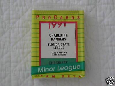 Charlotte Baseball - 1991 CHARLOTTE RANGERS MINOR LEAGUE BASEBALL TEAM SET  PROCARDS