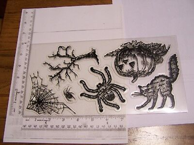 HALLOWEEN REALISTIC CAT SPIDER TREE SCREEN PRINTS TATTERED ANGELS CLEAR STAMPS](Tattered Angels Halloween)