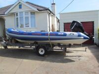 RHIB 4.5m Avon Adventure boat with trailer included