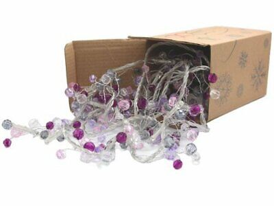 Battery Operated Cool White LED String Lights with Purple Beads