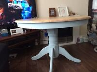 Upcycled pine table and mahogany chairs painted in duck egg blue with elephant pattern