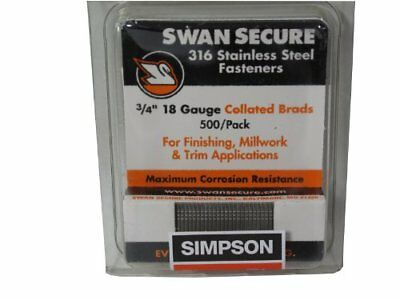 Simpson Swan Secure T18n075fnb 18-gauge 316 Stainless Steel 34-inch Brad Nails