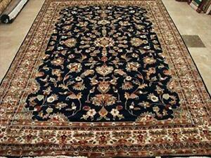 Awesome Mid Night Blue Rectangle Area Rug Wool Silk Hand Knotted Carpet (10 x 7)'