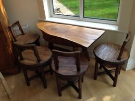 Hand Crafted Solid Wood Chinese Tea Set Table with 3 Small Chairs